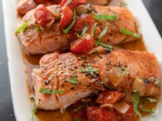 "Salmon & Melting Cherry Tomatoes (Cook Like a Pro: Seafood) - Ina Garten, ""Barefoot Contessa"" on the Food Network. Fish Recipes, Seafood Recipes, Dinner Recipes, Paleo Dinner, Recipies, Fish Dishes, Seafood Dishes, Main Dishes, Salmon Dishes"