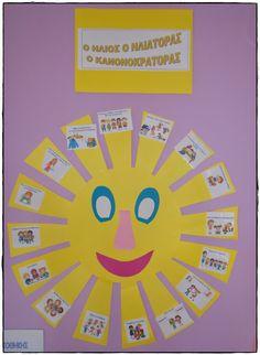 Η ΜΕΓΑΛΗ ΠΟΛΙΤΕΙΑ ΤΩΝ ΜΙΚΡΩΝ!!!: Μ΄ ένα κάστρο,μ΄έναν ήλιο και κολλώντας το χέρι ,προχωράω βήμα -βήμα... Class Rules, Educational Crafts, Preschool Themes, Autumn Activities, Kids Education, Pre School, Kindergarten, School Starts, Classroom