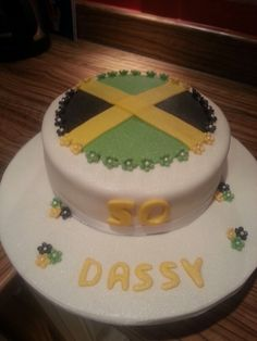 cake of jamaica flag The cake decorated to replicate the Jamaican
