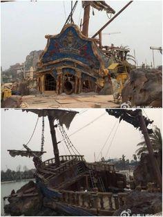 Environmental theming from Treasure Cove at Shanghai Disneyland