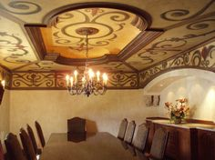 """Oversized scrollwork, inside and outside of the """"tray"""".  Also brought down onto the walls...by Jen Gagnon"""
