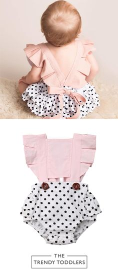 SALE 40% OFF + FREE SHIPPING! SHOP Our Polka Dot Pink Romper for Baby Girls