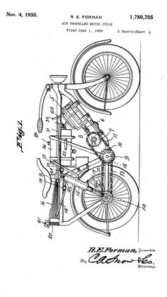 1917 Patent Drawing of Harley-Davidson Sprung ForkOriginal