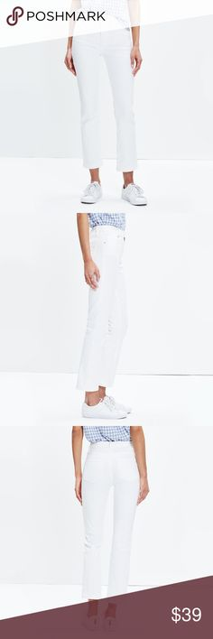 "Madewell Demi-Boot Jeans • Premium 98% cotton/2% elastane denim. • Specially woven to ensure zero show-through. • Matte silver hardware, tonal stitching. • Sit above hip, fitted through hip and thigh, with a slim leg. •Front rise: 10"" Madewell Jeans"