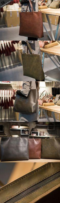 Handmade Leather Big Large tote bag dark green coffee brown for women leather shoulder bag