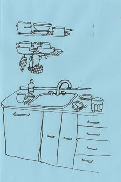 """basquiatwowo: """"our kitchen + the kitchen at a summer house in sweden , old drawings """" Sketchbook Inspiration, Art Sketchbook, Arte Hippy, Drawing Sketches, Art Drawings, Desenho Pop Art, Arte Pop, Urban Sketching, Love Art"""