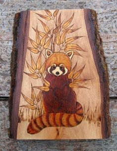 Red+Panda+with+Bamboo+Pyrography+Woodburning+on+Wood+by+ArtAfire,+$185.00