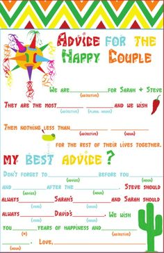 fun fiesta themed advice cardgreat idea for a couples shower weddings