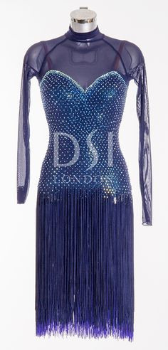 Navy Latin Dress as worn by Caroline Flack on Strictly Come Dancing 2014. Designed by Vicky Gill and produced by DSI London
