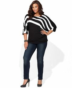 INC International Concepts Plus Size Three-Quarter-Sleeve Striped Top & Skinny Jeans - Plus Sizes - Macy's