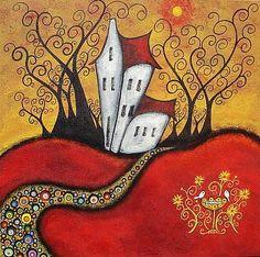 A Whimsical Spring by Artist Juli Cady Ryan Art And Illustration, Pintura Graffiti, Wal Art, Naive Art, Art Portfolio, Whimsical Art, Painting & Drawing, House Painting, Doodle Art