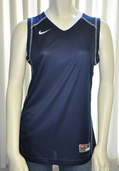 Nike Dri Fit Shirt Size Medium M Blue w White Trim Embroidered Logo Sleeveless #Nike #Exercise #Casual