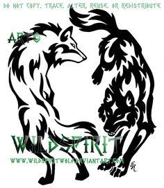 Yin Yang Tribal Wolf Set by *WildSpiritWolf my next tatto
