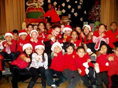 Miss Joy rehearsing with the kids from South Central at Xmas
