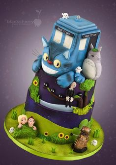 Terrific Doctor Who Meets Totoro Cake made by Little Cherry Cake Company