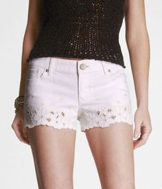I really want white shorts for summer, and these are so pretty, but Express, almost 100 bucks for a pair of tiny shorts?  No way!
