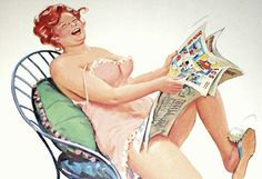 Hilda inside --- Sunday morning paper -- Hilda's cracking up -- reading the funnies. Hilda, pin-up girl. Arte Pin Up, Pin Up Art, Curvy Pin Up, Illustration, Wow Art, Pics Art, Humor, Vintage Pictures, Pin Up Girls