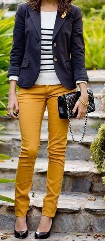 mustard jeans + navy and white striped shirt + navy blazer
