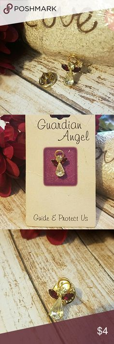 "**5 for $5 BUNDLE** Crystal Guardian Angel Pin 3/4"" Red & Clear Crystal Goldtone Guardian Angel Pin$4 each or get 5 for $5! Item#P102 Jewelry Brooches"