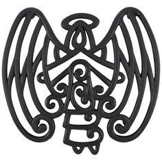 Cara's Casa Angel Trivet - Cast Iron - for Kitchen and Dining Table - Wall Art or Decoration Accessory - Housewarming and Holiday Gifts, Black