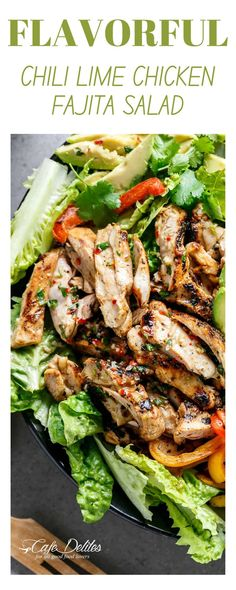 Flavorful Chili Lime Chicken Fajita Salad. Fajitas but make them healthier with this delicious veggie packed chili lime chicken fajita salad. Perfect for summer nights when you're craving something filling but refreshing. You are going to love this chicken fajita salad. #healthysalad #chicken #fajitas #chililime Chili Lime Chicken, Chicken Fajitas, Chicken Salads, Side Dish Recipes, Easy Dinner Recipes, Dinner Ideas, Healthy Meal Prep, Healthy Eats, Healthy Life