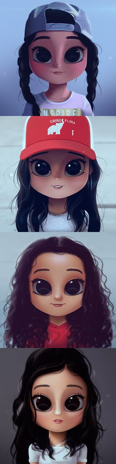 Cartoon, Portrait, Digital Art, Digital Drawing, Digital Painting, Character Design, Drawing, Big Eyes, Cute, Illustration, Art, Girl, Stuck in the Middle, Jenna Ortega, Ariana Greenblat, Kayla Maisonet, Ronni Hawk, Diaz, Family, Sisters