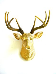 Faux Taxidermy Deer Head wall mount wall hanging wall decor in Gold with natural looking antlers Western Furniture, Log Furniture, Furniture Design, Stag Head, Deer Heads, Faux Taxidermy, Elephant Figurines, Animal Heads, Deer Antlers