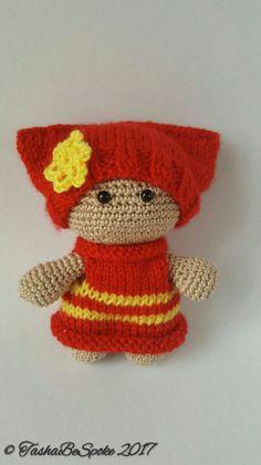 Crochet Doll in a Red dress Amigurumi Doll Big by TashaBeSpoke