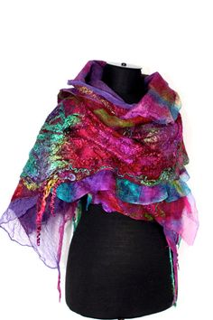 Nuno Felted Scarf Long Textured Merino Wool Silk Hand Dyed Multicolor Scarves Wrap Shawl OOAK