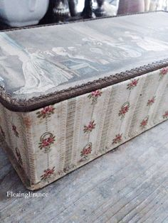 FleaingFrance....French antique fabric covered box with hand tinted engraving and golden wire lace trim.