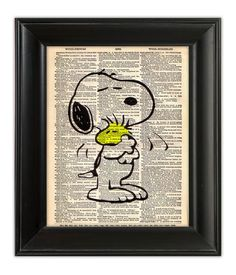 SNOOPY Woodstock HUGS Peanuts Nursery Kids Retro Dictionary Art Print Poster Illustration Upcycled Antique English Dictionary Book Page 8x10. $10.00, via Etsy.
