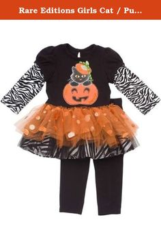 Rare Editions Girls Cat / Pumpkin Halloween Tutu Dress Outfit Leggings Set, Black , 6M. Up for your consideration is this adorable dress set from Rare Editions. This dress features black knit top with sewn in zebra stripe sleeves, cat / pumpkin applique at center, multi-tiered orange spangle mesh & zebra stripe tutu skirt, and single back button closure. Comes with a coordinating black leggings. A wonderful dress set for your little one to add to wear during this upcoming Halloween…