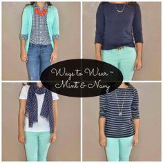 A Little Bit of Cheer: Ways to Wear ~ Mint & Navy