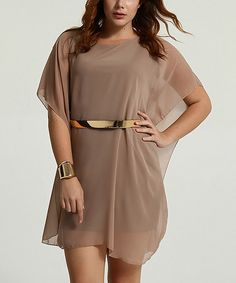 Take a look at this Mink Belted Sheer-Overlay Caftan - Women on zulily today!
