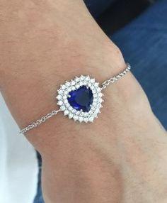 pulseira coracao azul safira prata semi joia