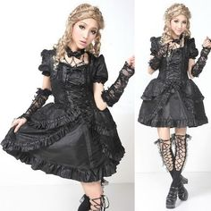 Black Fringe Short Sleeve Polonaise Gothic Lolita Party Dresses Women SKU-11402280