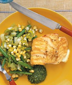 Cod With Beans, Corn, and Pesto   Real Simple Recipes