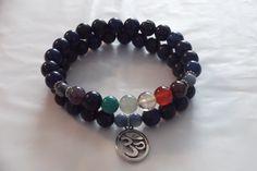 2x Lapis , 7 Chakra Gemstone Healing Stretch Bracelets,Yoga Bracelet Set by HealingAuras on Etsy