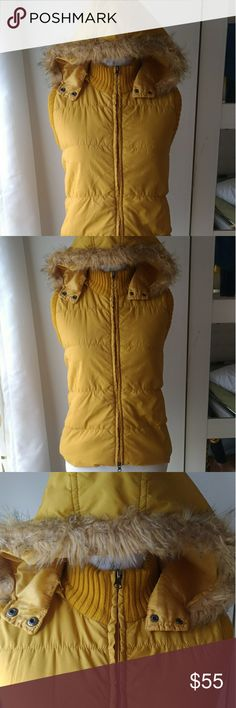 Fall Yellow Vest with Detachable Fur Hoodie (L) Double zipper front with hoodie neck snaps and zipper for detaching into only a vest. Back is striped. Interior is similar to the back. Wet Seal Jackets & Coats Vests