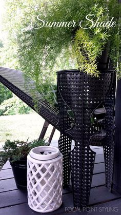 Create a relaxing spot in the shade with multifunctional finds from @homegoods like this pierced metal accent table that can double as a plant stand + ceramic lantern you can use inside or out! (sponsored pin)