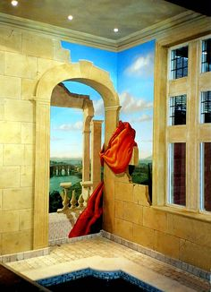 Although the phrase has its origin in the Baroque period, when it refers to perspective illusion , use of trompe-l'œil dates back much further. It was /is often employed in Greek and Roman murals, ie., Pompeii. A typical trompe-l'œil mural might depict a window, door, or hallway, intended to suggest a larger room.