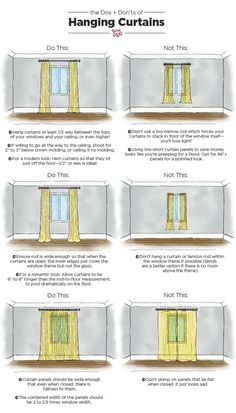 The Dos & Don'ts of Hanging Curtains: An Illustrated Guide Nothing makes a room feel well-dressed quite like carefully chosen, expertly hung curtains. When done right, your ceilings can look taller and your room will appear complete. Apartment Living, Apartment Therapy, Living Rooms, Living Room Drapes, Cheap Apartment, Apartment Furniture, Dinning Room Curtains, Small Apartment Interior Design, Ikea Small Apartment