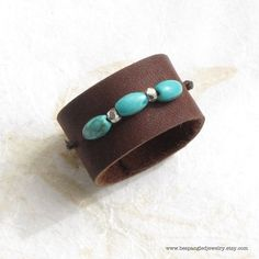 Blue Turquoise and Sterling Silver Brown by bespangledjewelry, $22.00
