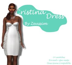 Cristina dress by me!!   It has a custom thumbnail also ;) Can be used as a short wedding dress or just as a cocktail dress! Enjoy!   DOWNLOAD (free on Patreon)   @wcifsareclosed @maxismatchccworld @mmoutfitters @mmfinds @love4sims4 @mystickylightcolor @cc-finds@nappingcucumberfinds Sims 4 Gameplay, Sims Cc, Formal Dresses, Wedding Dresses, Swatch, Cocktails, Vogue, Maxis, Clothes
