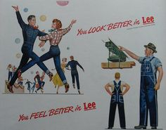 1950s Lee Dungarees Blue Jeans Fashion Illustration Advertisement Men Women Overalls by Christian Montone,