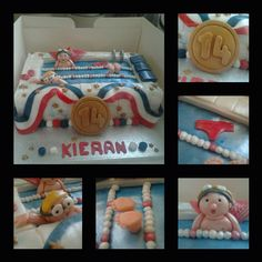 Swimming pool cake, for 14th Birthday, with gold medal, swimmers and a guy who lost his speedo!!!