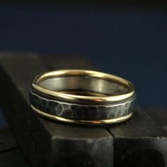The Paragon - Two Tone Wedding Band - 14K Solid Yellow Gold Edged - 3mm Hammered Silver Center - Bimetal Men's Ring - Hand Made to Size