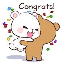 Bear Couple : Milk & Mocha by Shortie sticker Cute Couple Cartoon, Cute Cartoon Pictures, Cute Love Cartoons, Cute Love Images, Cute Love Gif, Cute Cat Gif, Cute Bear Drawings, Cute Couple Drawings, Kawaii Drawings