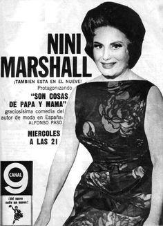 Niní Marshall en Canal 9, Buenos Aires, década del 60.