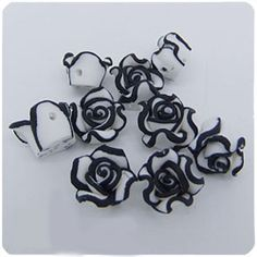 30 Pcs Black White Fimo Polymer Clay Loose Rose Flower Spacer Beads 9mm DIY R19 | eBay